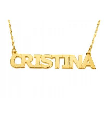 14K Gold English Name Necklace Double Width - Block Print Style
