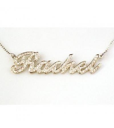 14K Gold English Name Necklace set with Diamonds - Cursive Letter Style