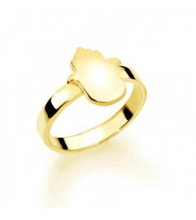 14K ရွှေဟီဘရူး Hamsa အမည် Ring ကို