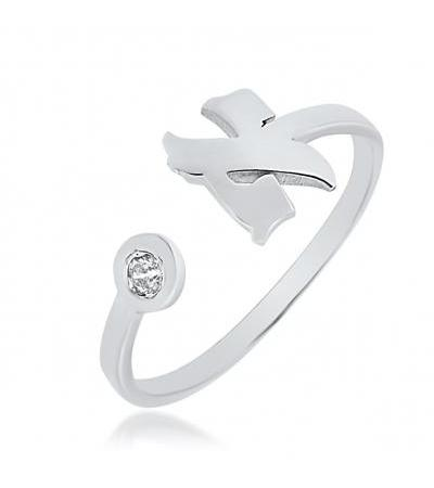 Silver Hebrew Letter Ring With Zirconia