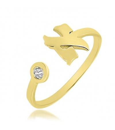 Gold Plated Hebrew Letter Ring with Zirconia
