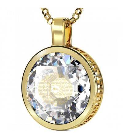 14K Złota okrągła ramka Dziękuję Ci Mamo z biżuterią Nano z cyrkoniami