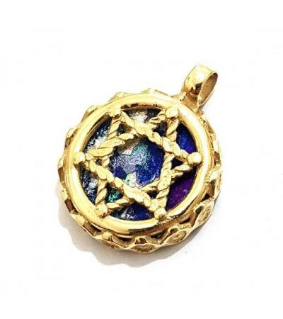 14K Gold Star of David with Roman Glass