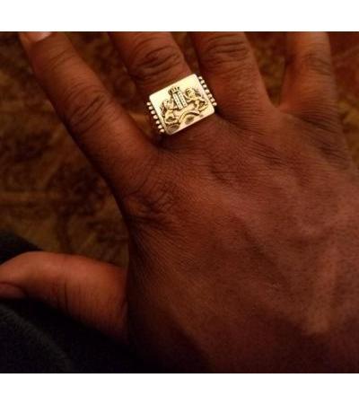 14K Złoto Dziesięć przykazań Pierścień Menora