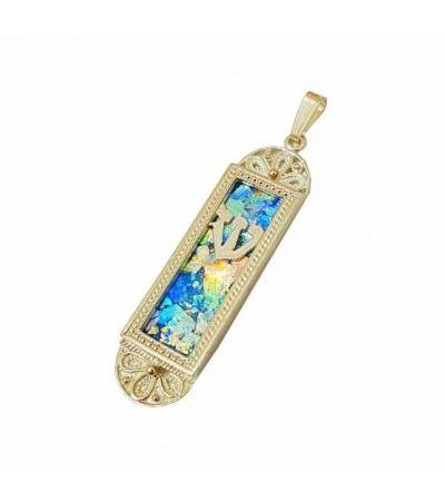 14k Gold Yemenite Filigree Mezuzah Necklace with Roman Glass