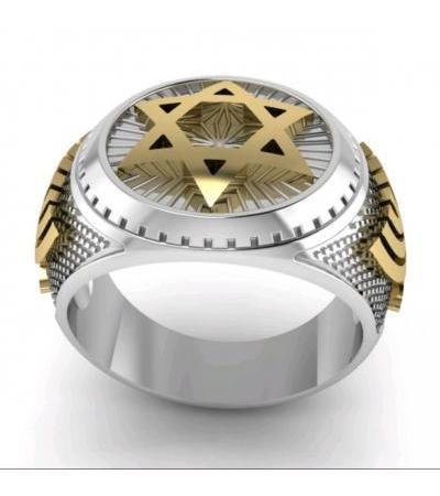 14K Białe i żółte złoto Star of David Ring