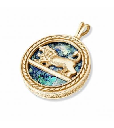 14k Yellow Gold Lion of Judah Naszyjnik ze szkła rzymskiego