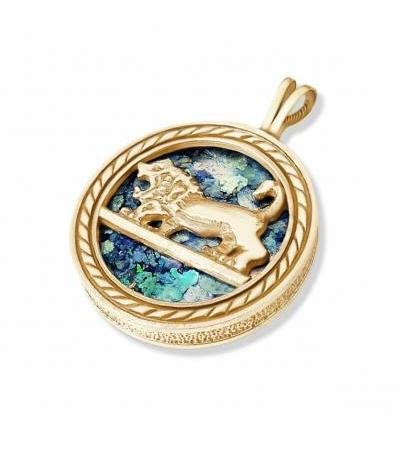 14k Yellow Gold Lion of Judah Roman Glass Necklace