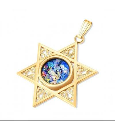 14k Yellow Gold Star of David with Faceted Roman Glass