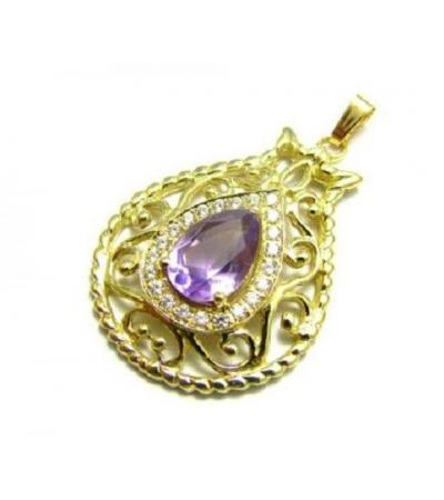 18K Gold Pomegranate Amethyst and Zircons Necklace