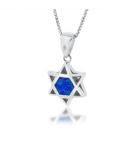 3D Silver Star of David with Opal