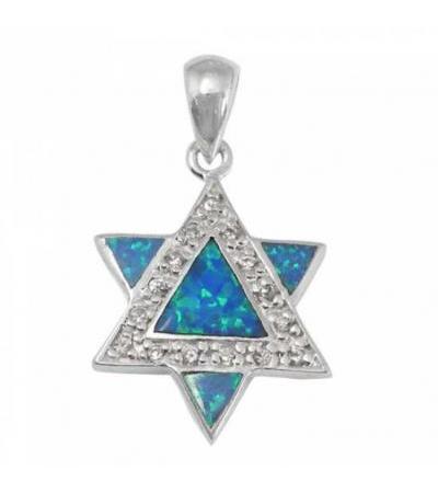 Weź ze sobą naszyjnik Star of David, Silver & Opal