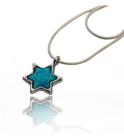 Classic Silver Star of David Necklace with Opal Stone