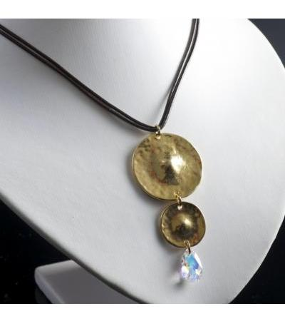 Double Disc Pendant Necklace with Swarovski Crystal Teardrop - Anava Jewelry