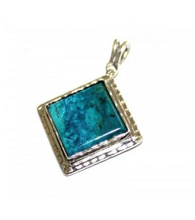 Eilat Stone in a Square Sterling silver Frame Necklace