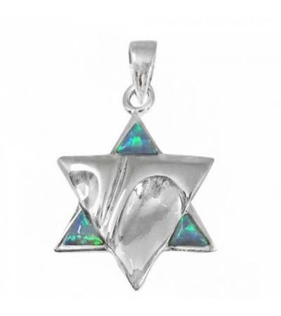 Eye-Catching Star of David Necklace, Silver & Opal