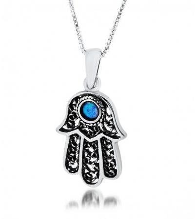 Filigree Hamsa Necklace with Center Opal Stone