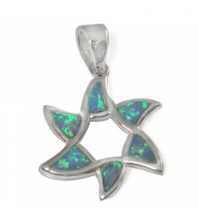 Flower Shape Star of David Necklace, Silver & Opal