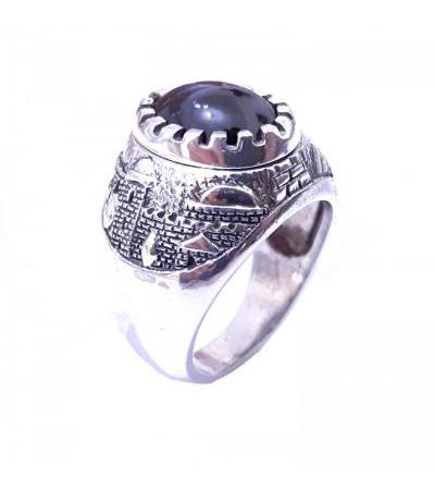 Garnet and Silver Jerusalem Ring