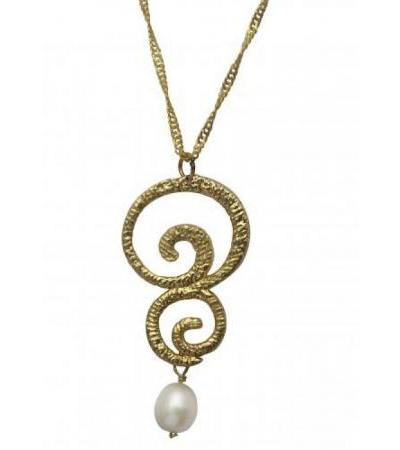 Gold Ornaments Necklace and Pearl, Judaica Jewelry