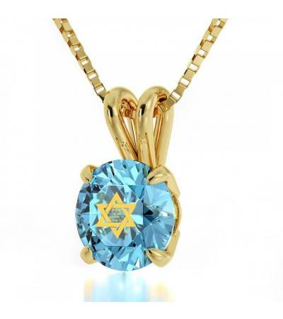 Pozłacana Shema Yisrael na biżuterii Swarovski Nano