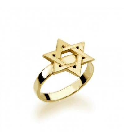 Gold Plated Star of David Hebrew Name Ring