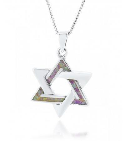 Interlock Star of David Pendant Silver and Pink Opal