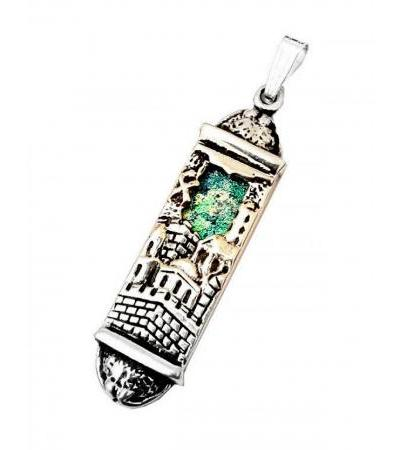 Jerusalem Silver and Roman Glass Mezuzah Necklace