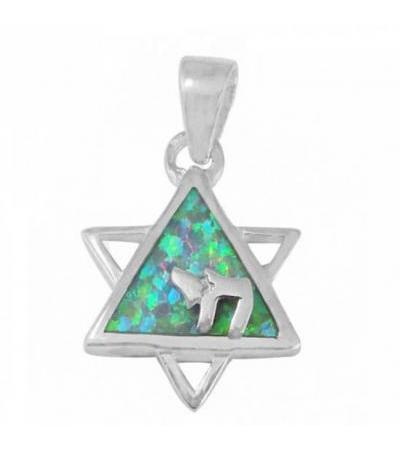 Jewish Symbols Chai and Star of David Necklace, Silver & Opal