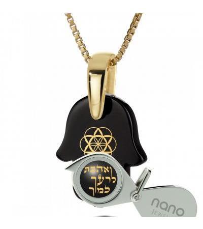 Love Your Neighbor Naszyjnik pozłacane i Hamsa Onyx Nano Biżuteria