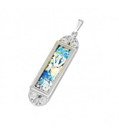 Mezuzah Necklace Roman Glass and Filigree Silver