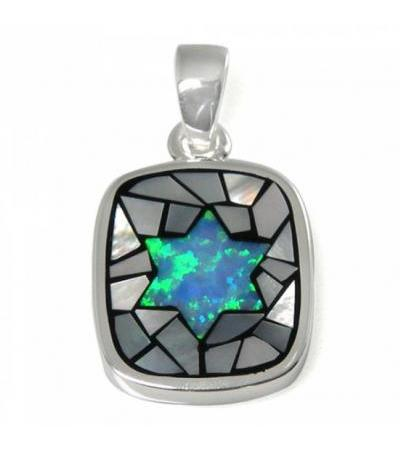 Mosaic Themed Star of David Necklace, Silver & Opal