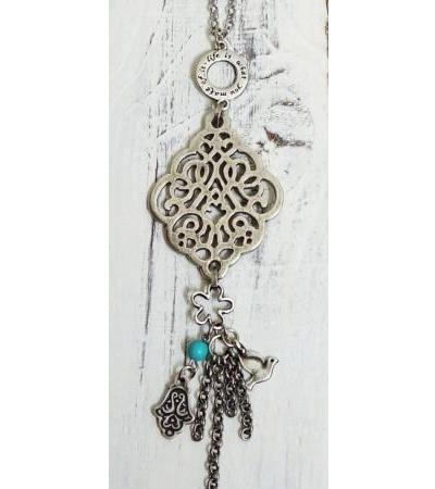Necklace Features Peace Dove Turquoise Stone and Hamsa