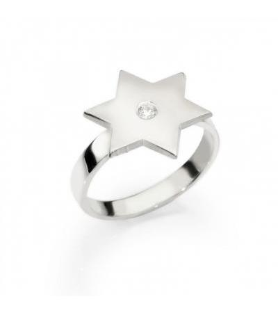 Personalized Star of David Ring with Zircon