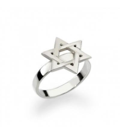 Personalized Sterling Silver Star of David Ring