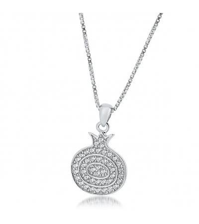 Pomegranate Necklace Sterling Silver and Zirconia