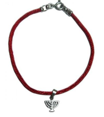 Red string Bracelet with Silver Menorah