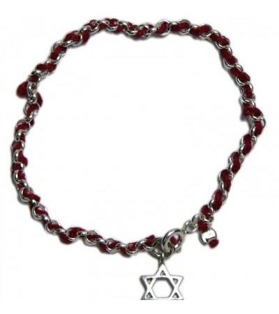 Red String & Silver Bracelet with Star of David