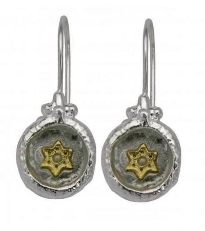 Roman Glass and Silver, Star of David Drop Earring