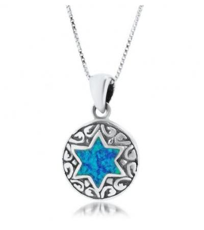 Round Silver Necklace with Opal Star of David