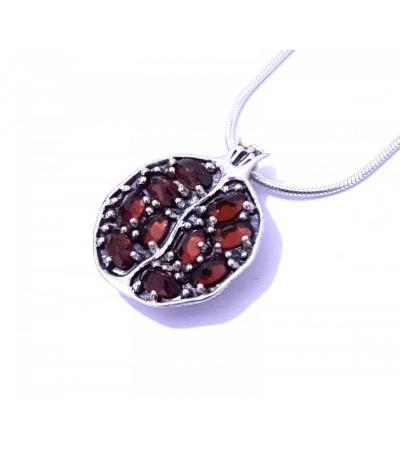 Silver and Garnet Stones Pomegranate Necklace