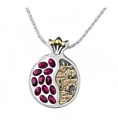 Silver and Gold and Garnet Stones Pomegranate Jerusalem Window Necklace