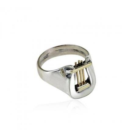 Silver and Gold Davids Harp Ring