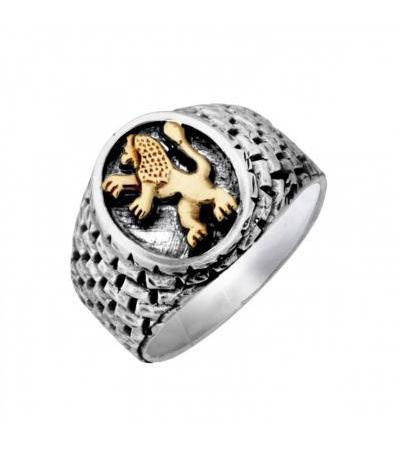 Srebrny i Złoty Lew z Judah Jerusalem Wall Ring