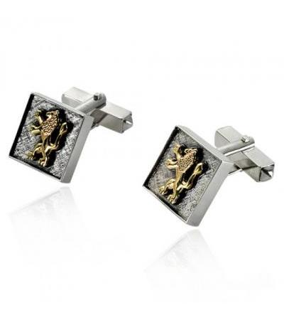 Silver na Gold Lion nke Juda Square Cufflinks