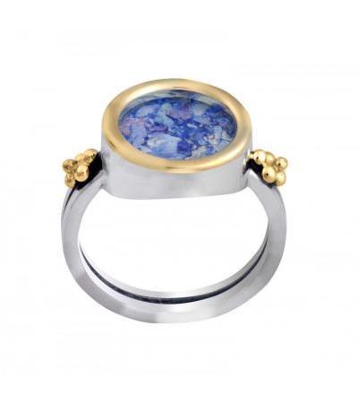 Zilveren en gouden ronde Romeinse glazen versierde ring