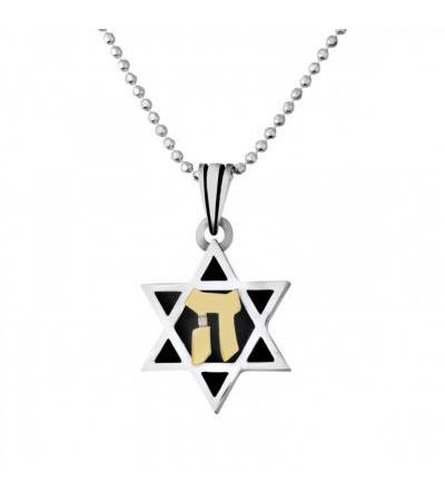 Silver and Gold Star of David Necklace with Hay
