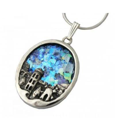 Silver and Roman Glass Jerusalem Necklace