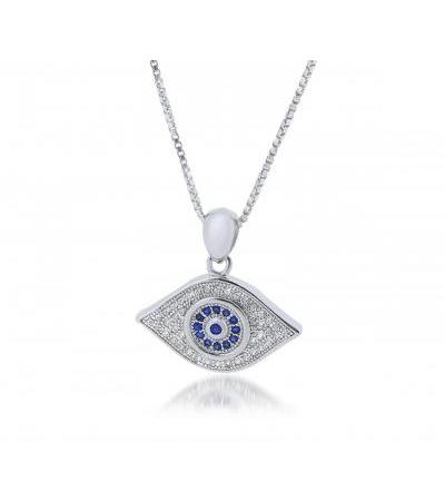Silver Evil Eye Necklace Met White and Blue Zirconia