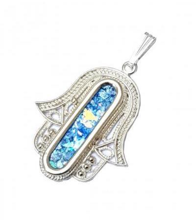 Silver Hamsa Necklace Filigree and Roman Glass